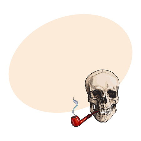 Hand drawn human skull smoking lacquered wooden pipe, sketch style vector illustration with space for text. Realistic hand drawing of skull with smoking pipe