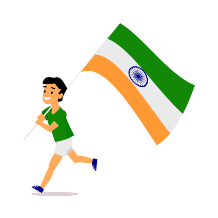 Indian boy, kid, teenager in shorts running with big tricolor Indian flag, simple cartoon vector illustration isolated on white background. Indian boy running with national tricolor flag