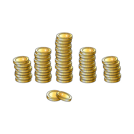 Set of shiny gold coins in tall and short stakcs, piles, sketch vector illustration isolated on white background. Realistic hand drawing of stacks of blank, unlabeled golden coins Stock Photo