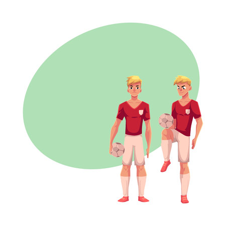 Handsome blond soccer player standing with football ball, cartoon vector illustration with space for text. Full length portrait of professional soccer player standing with football ball