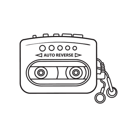 Old fashioned, retro black and yellow audio player, from 90s, sketch vector illustration isolated on white background. Front view of hand drawn audio player, ear buds, head phones
