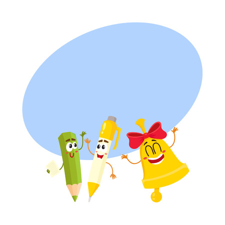 Cute, funny smiling pen, pencil, golden bell characters, back to school concept, cartoon vector illustratio with space for text. Happy school characters, mascots - pen, pencil, school bell Illustration
