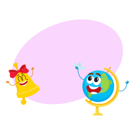 Cute and funny smiling globe and golden bell characters, back to school concept, cartoon vector illustration with space for text. Happy school bell and globe characters, mascots Illustration
