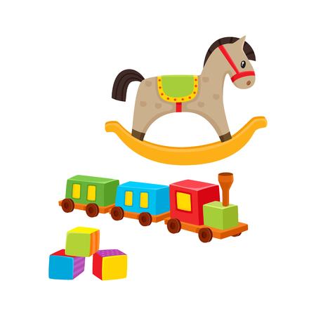 赤ちゃん木のおもちゃ鉄道、ロッキング ホース、ビルディング ブロック、白い背景で隔離の漫画ベクトル図です。子供アイテム - 木製鉄道揺り木馬