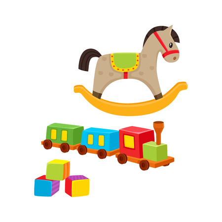 Baby wooden toys train, rocking horse, building blocks, cartoon vector illustration isolated on white background. Kid items -wooden train, rocking horse, building blocks for little kids, children