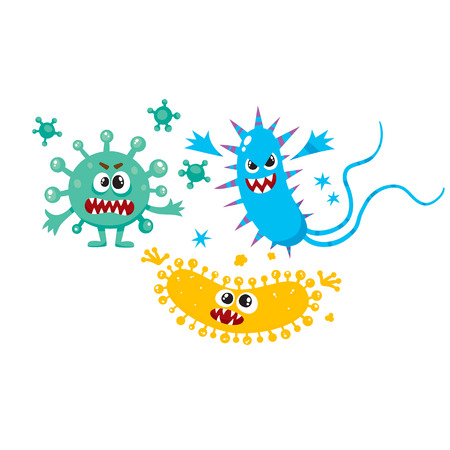 Set of ugly virus, germ and bacteria characters, cartoon vector illustration on white background. Collection of ugly, scary bacteria, virus, germ monsters with human faces and sharp teeth