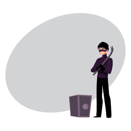 Thief, burglar going to force open safe box with tire lever, cartoon vector illustration with space for text. Burglar, robber, thief in black mask with tire lever tool going to open a safe