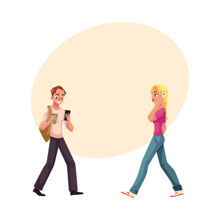 Young man and woman using smartphone, mobile phone on the go, cartoon vector illustration with space for text. Full length portrait of man and woman, boy and girl walking with mobile phone