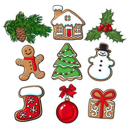 Satz glasig-glänzende selbst gemachte Weihnachtslebkuchenplätzchen, Mistelzweig, Tannenbaumastskizzen reden die Vektorillustration an, die auf weißem Hintergrund lokalisiert wird. Weihnachtsgingerman