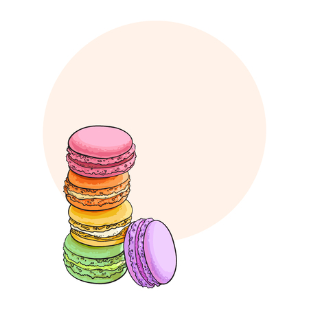Stack of colorful macaron, macaroon almond cakes, sketch style vector illustration with space for text. Stack, pile of colorful almond macaron, macaroon biscuits, sweet and beautiful dessert