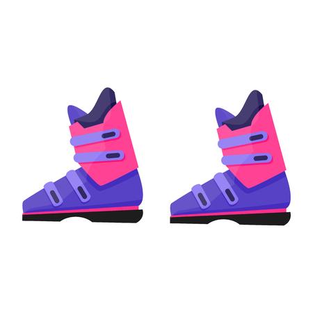 Paire de ski, bottes de planche à neige, engin de sport d'hiver, illustration vectorielle de style plat isolé sur fond blanc. Flat vector ski, bottes de snowboard, illustration colorée Banque d'images - 82802799