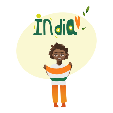 indian teenager: Indian boy, kid, teenager holding tricolor Indian flag in hands, cartoon vector illustration isolated on white background. Indian boy with national tricolor flag