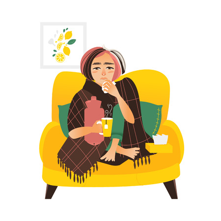 Woman sick, having cold, flu, sitting in armchair wrapped in blanket with paper tissues and hot tea, flat vector illustration isolated on white background. Flat style woman having flu, sitting on sofa