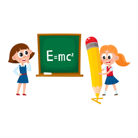 Schoolgirls, school girls - answering at physics lesson and writing with huge, giant pencil, cartoon vector illustration isolated on white background. School girls - standing at blackboard and writing Stock Photo