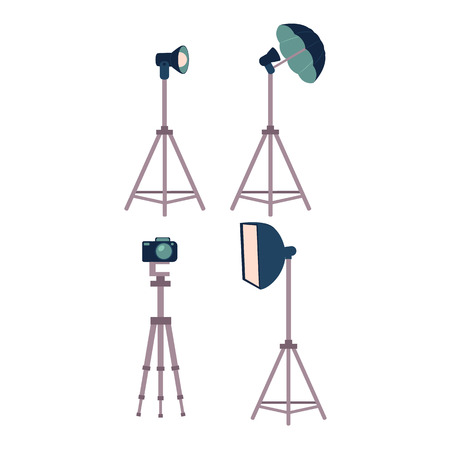 Professional photo studio equipment set - camera, tripods, flash, strobe light, cartoon vector illustration on white background. Set of cartoon style professional photo, photographer studio equipment Ilustracja