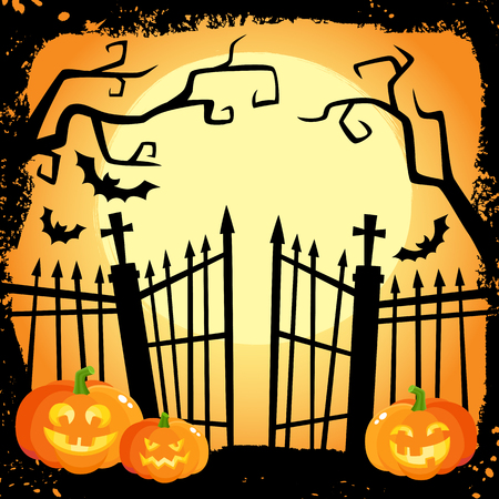 Halloween banner, poster, postcard design with three laughing pumpkin lanterns on cemetery fence background, cartoon vector illustration. Cartoon Halloween poster with pumpkinsand cemetery