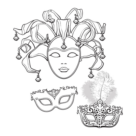 Set of three decorated Venetian carnival masks with feathers and bells, sketch style vector illustration isolated on white background. Realistic hand drawing of carnival, Venetian masquerade masks