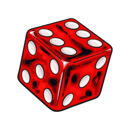 Realistic hand drawing of single shiny red dice, sketch style vector illustration isolated on white background. Hand drawn shiny dice, casino, gambling attribute Çizim