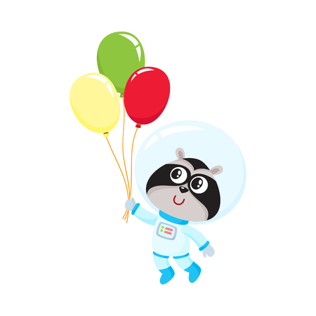 Cute little raccoon astronaut, spaceman in space suit holding bunch of balloons, cartoon vector illustration isolated on white background. Baby raccoon astronaut, spaceman in spacesuit holding balloon Illustration
