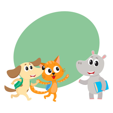 Cute animal student characters, cat, dog andhippo holding book, meeting in class, cartoon vector illustration with space for text. Little animal student characters, back to school concept