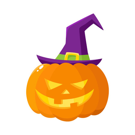 Jack o lantern, orange pumpkin in pointed witch hat, traditional Halloween symbol, cartoon vector illustration isolated on a white background. Halloween pumpkin, jack o lantern in pointed wizard hat Illustration
