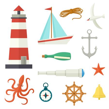 Grote reeks van platte cartoon nautische elementen vuurtoren, anker, kompas, schip, touw, zeemeeuw, stuurwiel, telescoop, bel, brief octopus starfish vectorillustratie geïsoleerd op witte achtergrond