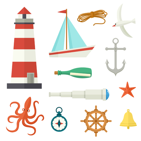 Big set of flat cartoon nautical elements lighthouse, anchor, compass, ship, rope, seagull, steering wheel, telescope, bell, letter octopus starfish vector illustration isolated on white background