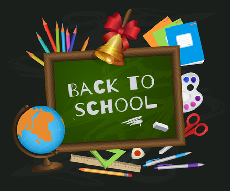 Back to school banner, poster, greeting card design with blackboard, chalk written text and student items, cartoon vector illustration. Back to school poster, banner with blackboard and student items