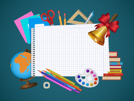 Back to school banner, poster design with empty squared notebook page and student items on the background, cartoon vector illustration. Illustration