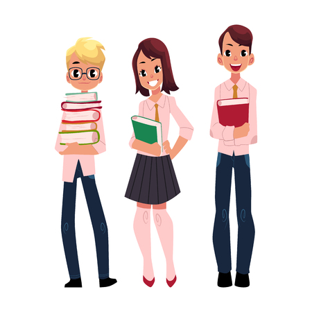 Three students, pupils, school kids standing together, holding books, cartoon vector illustration isolated on white background. Illustration