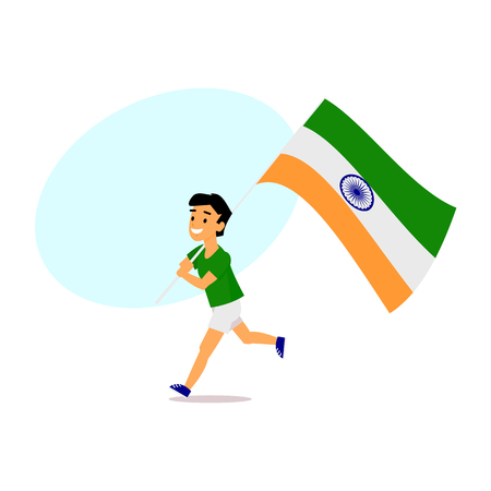 Indian boy, kid, teenager in shorts running with big tricolor Indian flag, simple cartoon vector illustration with space for text.