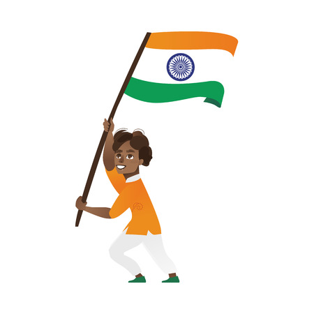 인도 소년, 아이, 10 대들이 들고 큰 삼색 인도 깃발을 흔들며