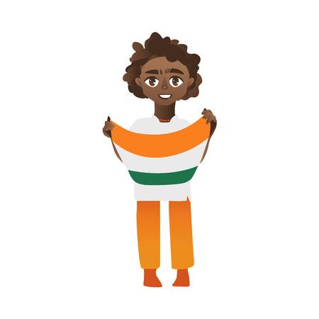 인도 소년, 아이, 손에 3 색 인도 깃발을 들고하는 십 대