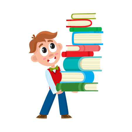 School boy holding, carrying huge stack, pile of book, cartoon vector illustration isolated on white background. Boy holding, carrying pile of books, heavy study load, back to school concept
