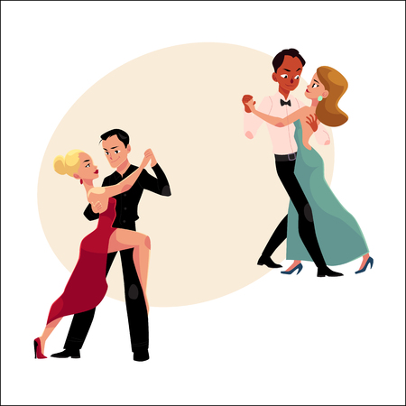Two couples of professional ballroom dancers dancing, looking at each other, cartoon vector illustration with space for text. Two ballroom dance couples dancing tango, waltz, rumba Illustration