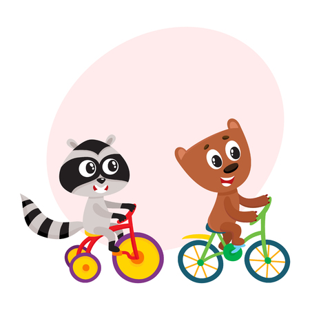 Cute little raccoon and bear characters riding bicycles together, cartoon vector illustration with space for text. Baby raccoon and bear animal characters riding bicycle and tricycle Illustration