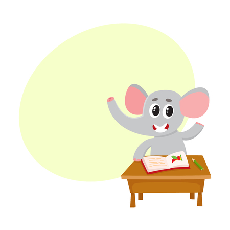 Cute elephant student character sitting at school desk, willing to answer, cartoon vector illustration with space for text. Little elephant student ready to answer, back to school concept