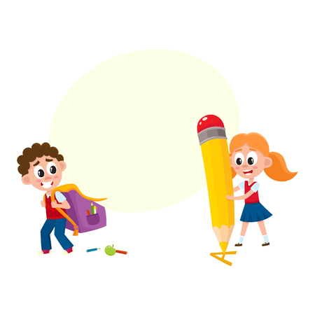 Back to school concept - boy carrying backpack, girl with huge pencil, cartoon vector illustration isolated on white background with speech bubble Illustration