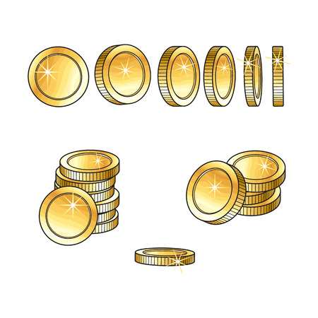 Set of rotating, turning shiny gold coins and stakcs, sketch vector illustration isolated on white background. Realistic hand drawing of blank, unlabeled golden coins at different points of view