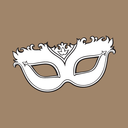 Beautifully decorated Venetian carnival mask with glitter and ornaments, sketch style vector illustration isolated on brown background. Realistic hand drawing of carnival, Venetian mask