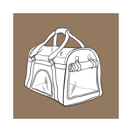 Pet travel fabric carrier, bag for transporting cats, dogs, sketch style vector illustration isolated on brown background. Hand drawn pet carrier, transport, travel bag on brown background