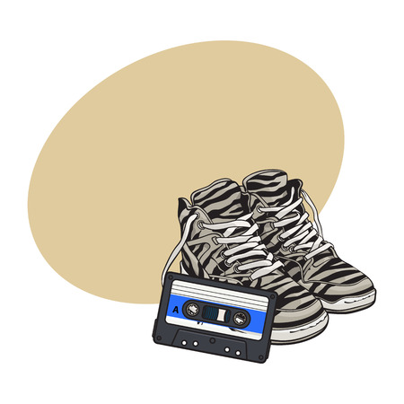 Pair of zebra sneakers and audio tape from 90s, retro style disco attributes, sketch vector illustration with space for text. Retro style sneakers and magnetic audio tape from nineties 向量圖像