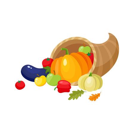 Hoorn des overvloeds, hoorn van overvloed, herfst oogst, fruit en groenten, cartoon vectorillustratie geïsoleerd op een witte achtergrond. Cartoon hoorn des overvloeds, hoorn van overvloed, thanksgiving symbool, decoratie