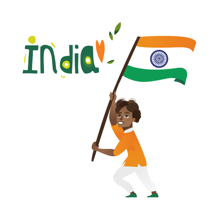 Indian boy, kid, teenager holding and waving big tricolor Indian flag, cartoon vector illustration isolated on white background. Indian boy with national tricolor flag Фото со стока - 82924630