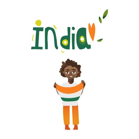 인도 소년, 아이, 손에 3 색 인도 플래그를 보유하는 십 대, 흰색 배경에 고립 된 만화 벡터 일러스트 레이 션. 국가 삼색기 국기와 인도 소년