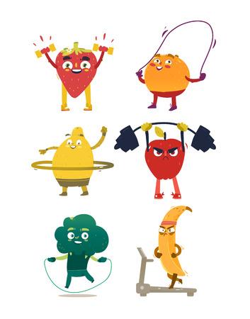 Grappige komische, cartoon stijl fruit en bessen sport, fitness oefeningen, set van vectorillustraties geïsoleerd op een witte achtergrond. Grappige fruit en bessenkarakters met menselijke gezichten die sport doen