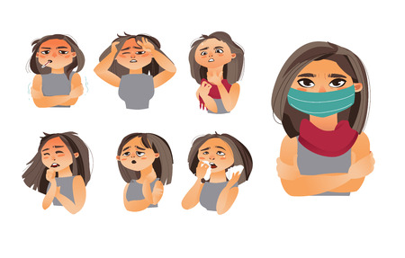 Vrouw, vrouw hoofd griep, influenza symptomen - hoofdpijn, loopneus, niezen, hoesten, dragen medische masker, cartoon vectorillustratie geïsoleerd op een witte achtergrond. Set van griepsymptomen