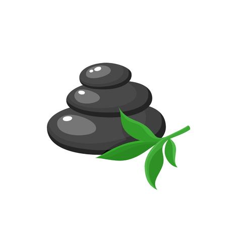 Pile de trois pierres chaudes noires, accessoire de salon spa, illustration de vecteur de dessin animé sur fond blanc. Pile de pierres de basalte rondes pour massage aux pierres chaudes dans un salon spa Vecteurs