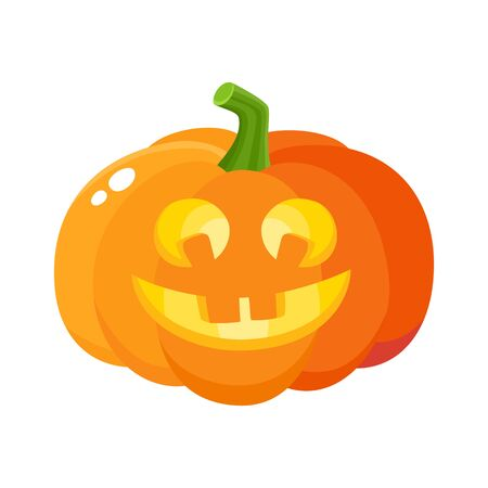Laughing, happy pumpkin jack-o-lantern with funny teeth, Halloween symbol, cartoon vector illustration isolated on white background. Pumpkin lantern with smiling, laughing face, Halloween decoration