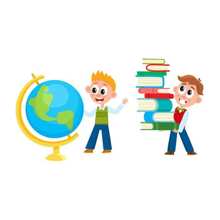 男子 - 1 つ勉強グローブ、別運ぶ重い本杭、白い背景で隔離の漫画ベクトル図です。一人の男の子が興味を持って世界中を見て別の本の杭を保持  イラスト・ベクター素材
